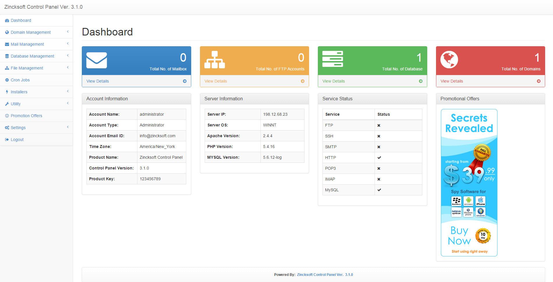 Linux Web Hosting Control Panel Ver 4.2 by zincksoft