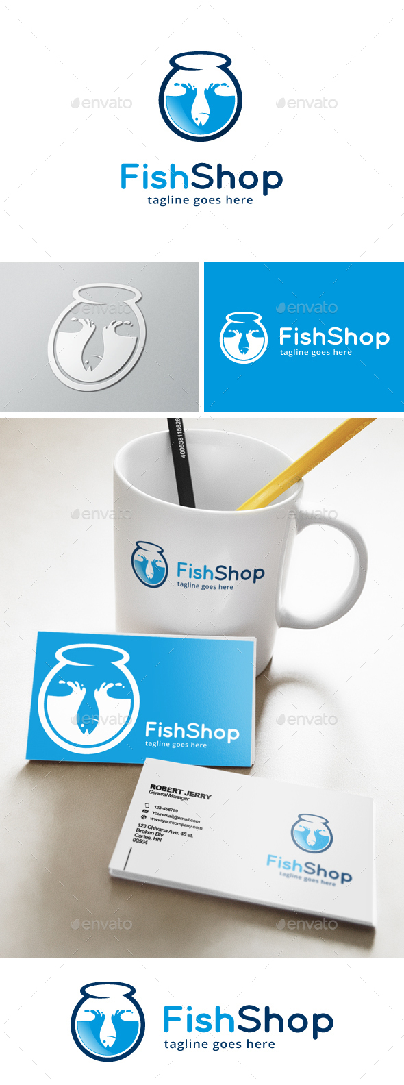 Fish Shop Logo - Animals Logo Templates