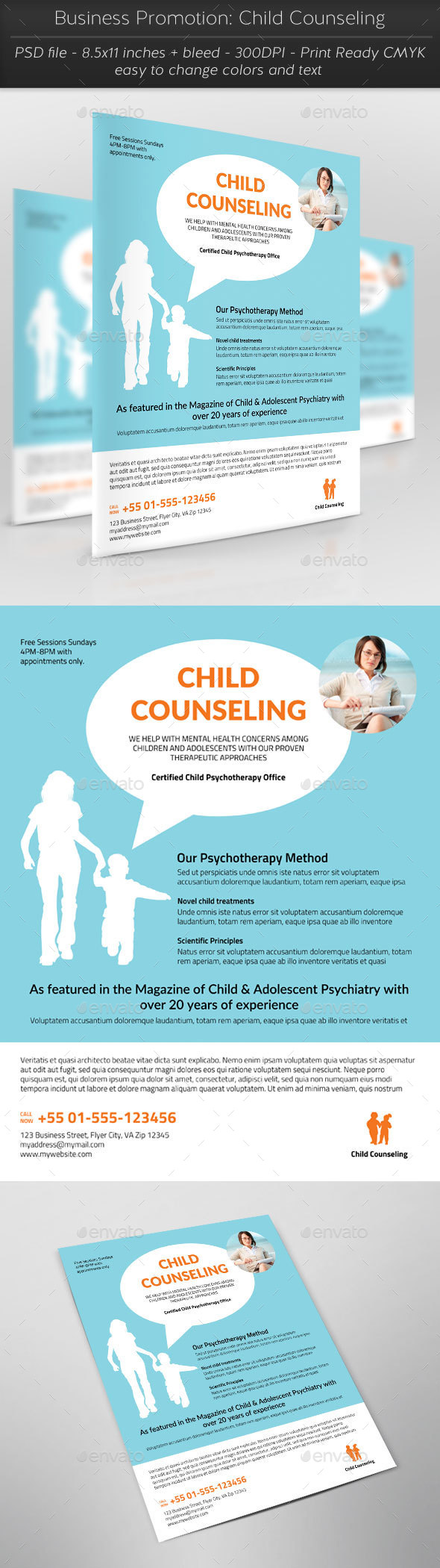 Business Promotion: Child Counseling - Flyers Print Templates