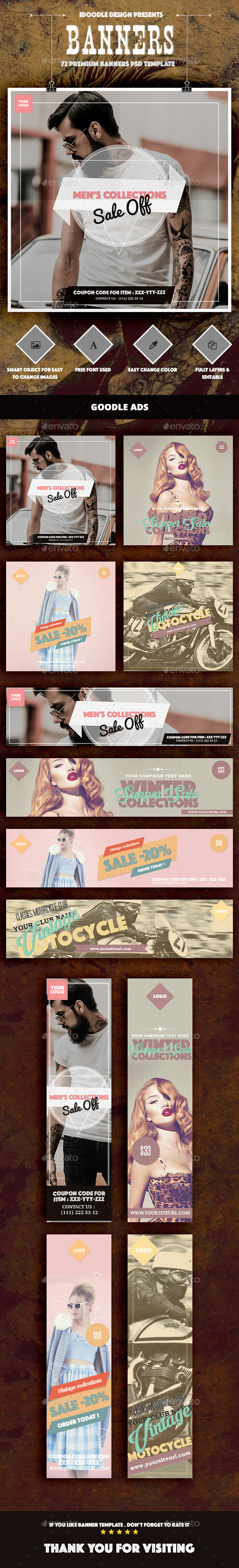 Bundle Multipurpose Retro/Vintage Banner Ads - Banners & Ads Web Elements