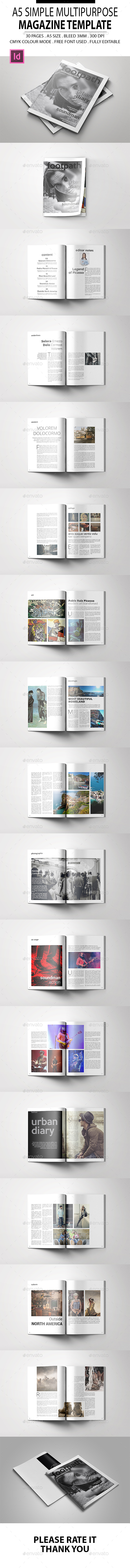 A5 Simple Multipurpose Magazine Template - Magazines Print Templates