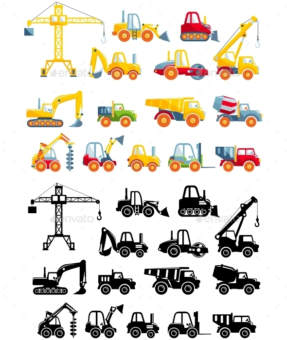 Set Of Toys Heavy Construction Machines In A Flat  - Man-made Objects Objects