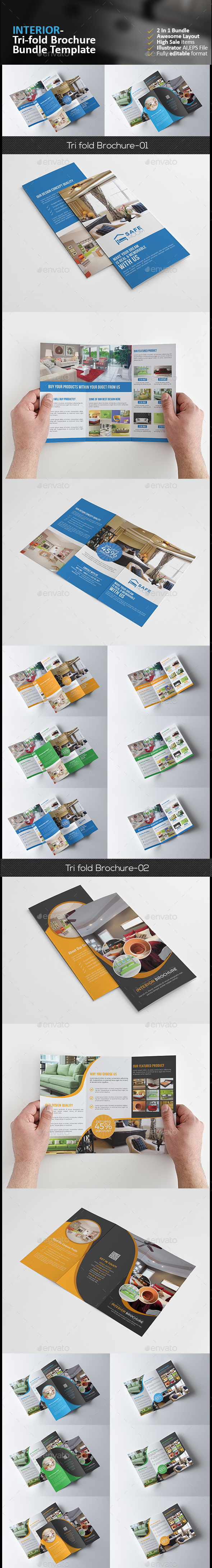 Interior Tri Fold Brochure Bundle - Corporate Brochures