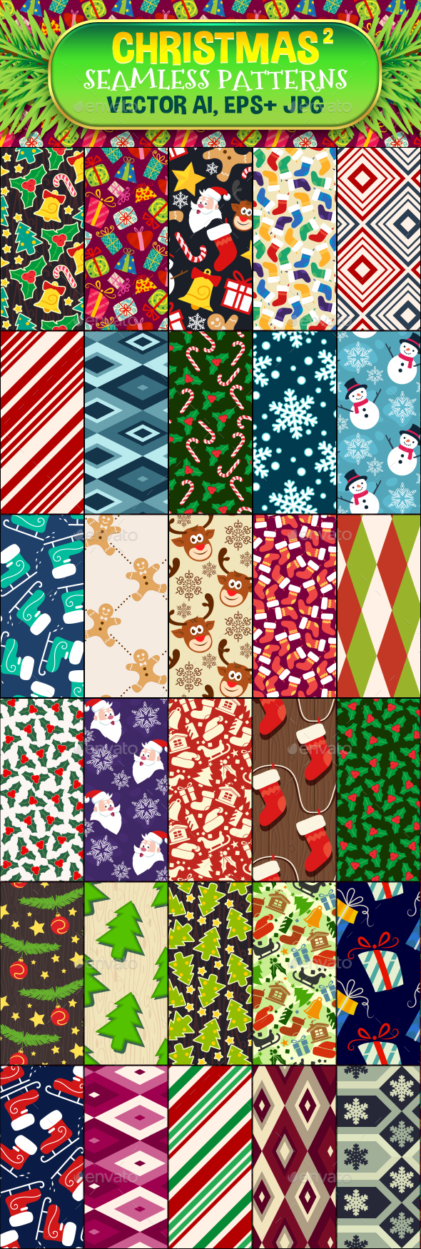 30 Christmas Seamless Pattern Set 2 - Christmas Seasons/Holidays