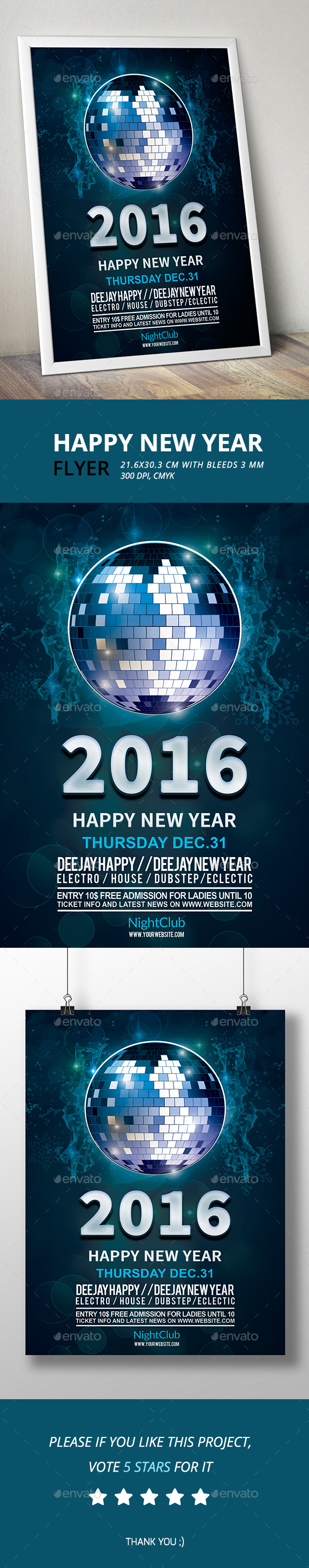 Happy New Year Flyer 2016 - Clubs & Parties Events