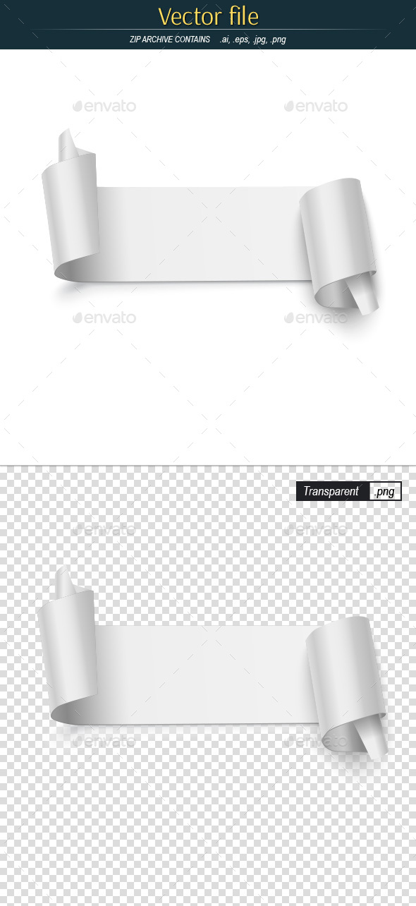 Vector Banner of the Curved Paper - Man-made Objects Objects