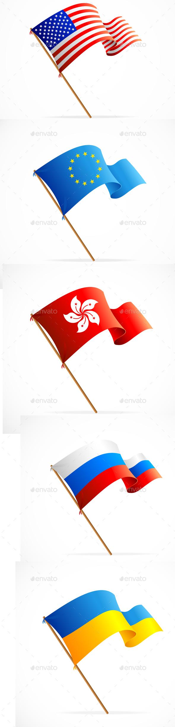 Waving Flag Set. Vector - Objects Vectors