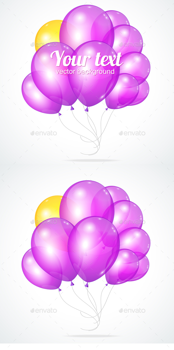 Color Glossy Violet Balloons Template for Text.  - Seasons/Holidays Conceptual