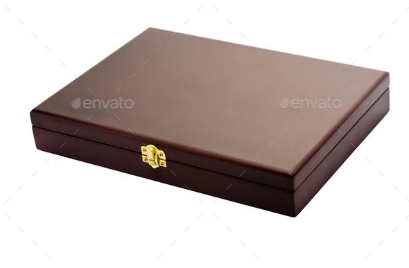 Flat box on white - Stock Photo - Images