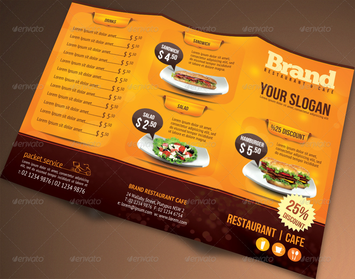 Trifold Brochure Restaurant Cafe Menu PSD Template By Hsynkyc - Trifold brochure template psd