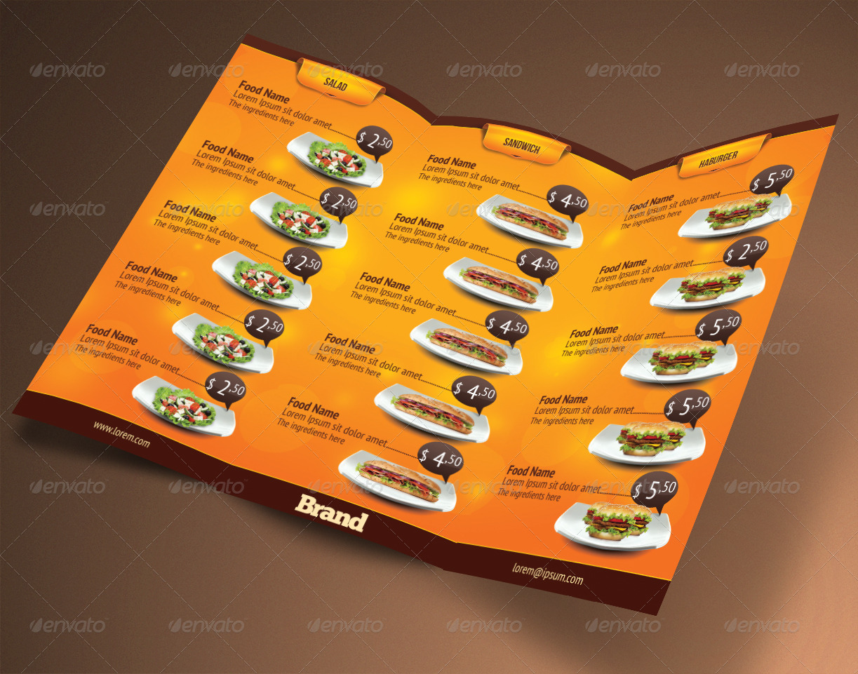 Trifold brochure restaurant cafe menu psd template by