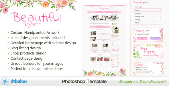Beautiful – A Hand painted Watercolor PSD