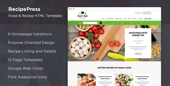 RecipePress - Food & Recipes Premium HTML Template