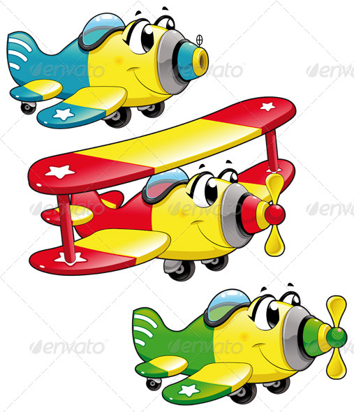 Cartoon airplanes - Travel Conceptual