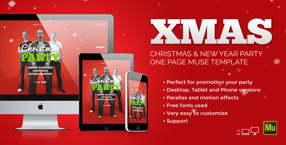 XMas – Christmas / New Year Party Muse Template