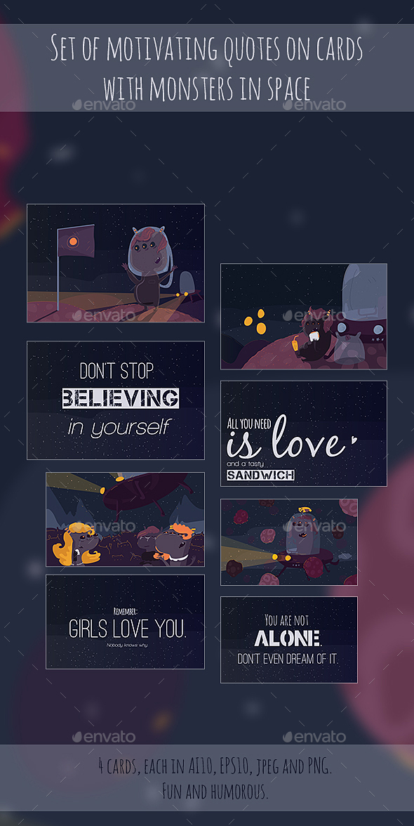 Motivating Cards With Space Monsters - Miscellaneous Vectors