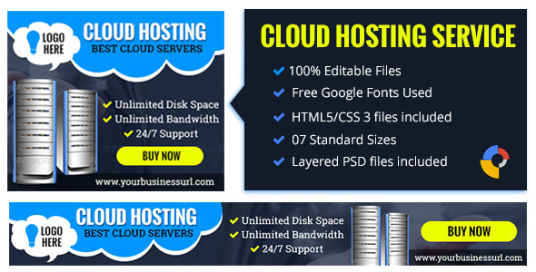 GWD Cloud Hosting | Business Banner - 7 Sizes - CodeCanyon Item for Sale