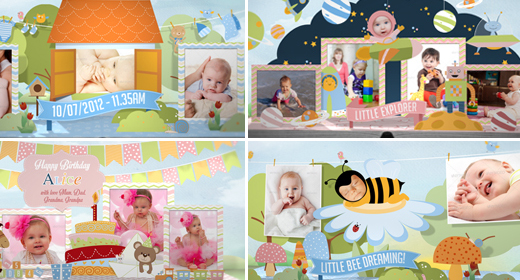 Baby-kids Photo album & Happy Birthday template