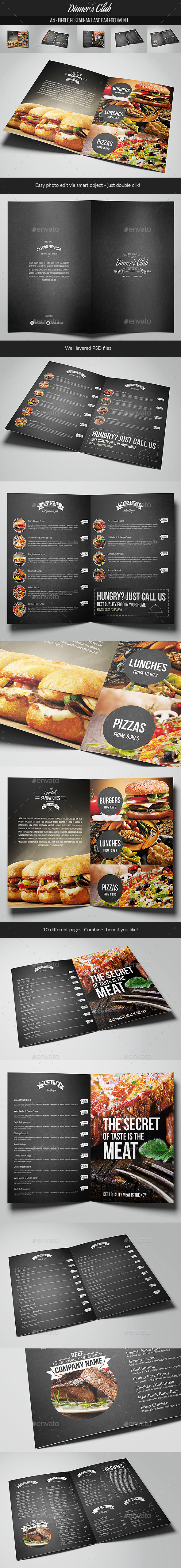 Restaurant & Bar Food Menu  - Food Menus Print Templates