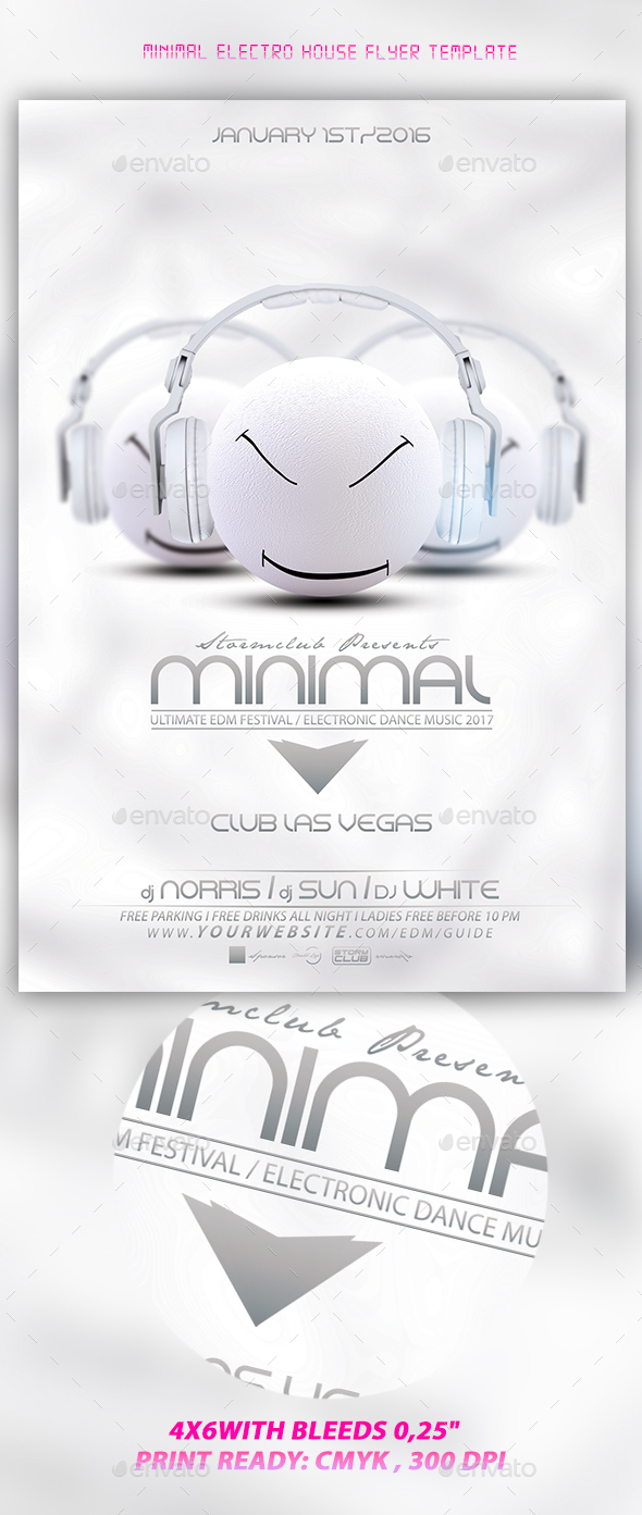Minimal Electro House Flyer Template - Events Flyers