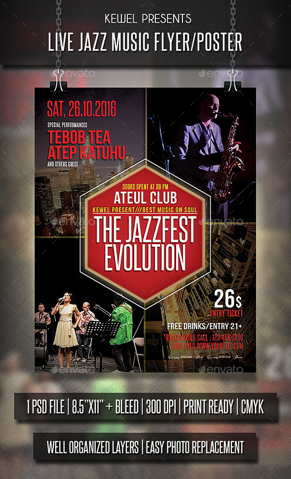 Live Jazz music Flyer / Templates - Events Flyers