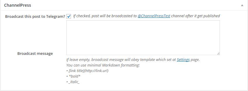 ChannelPress - Broadcast posts to Telegram