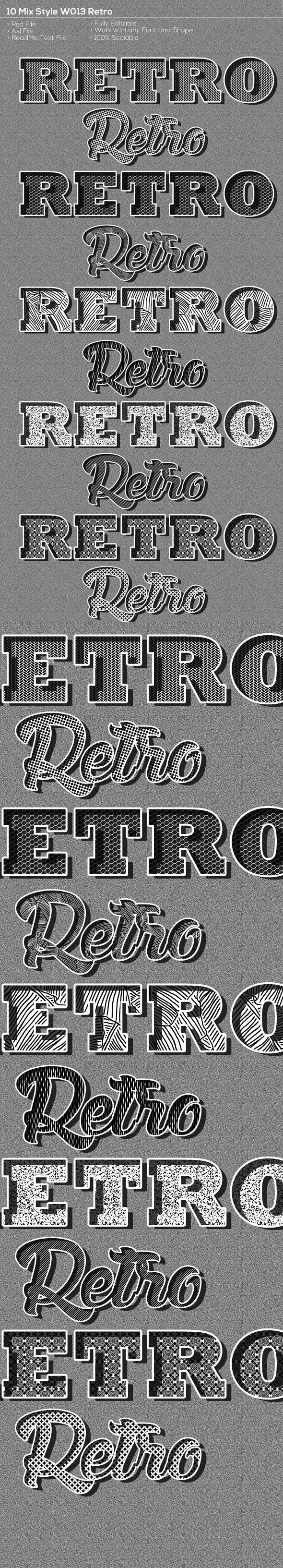 10 Retro Style W013nov - Text Effects Styles