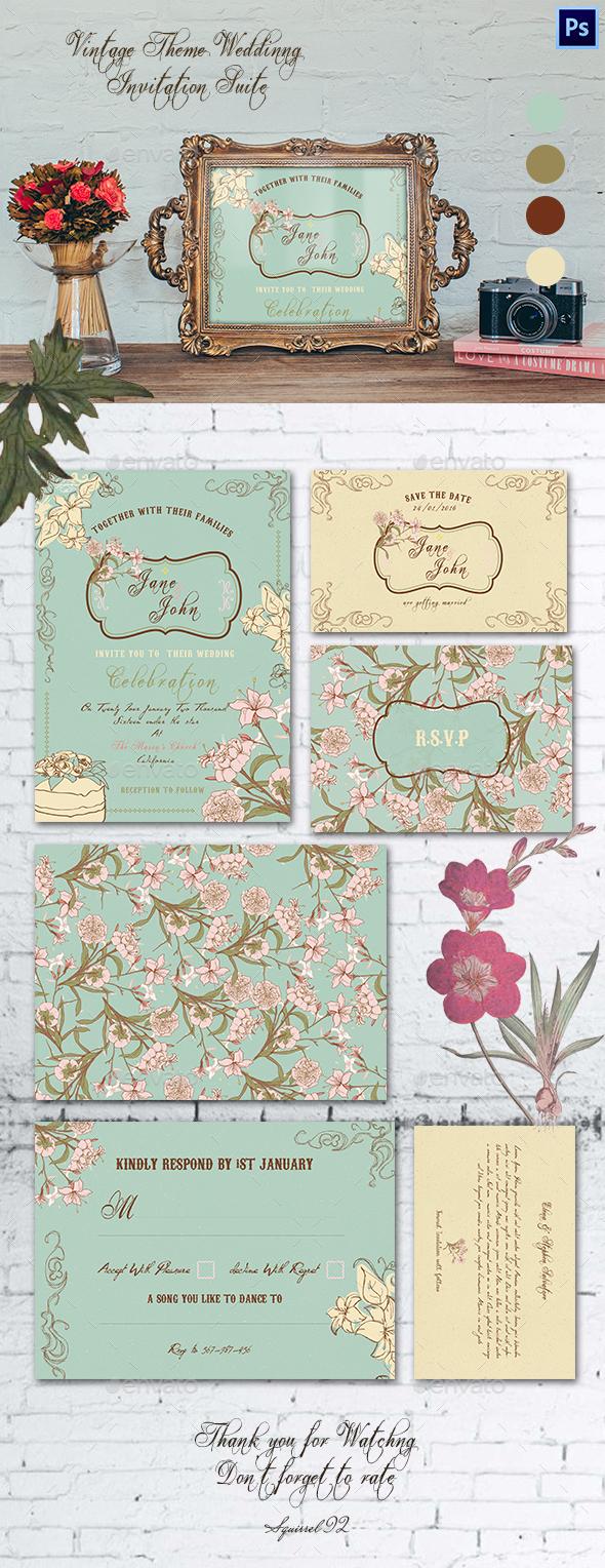 Vintage Theme Wedding Invitation Suite - Weddings Cards & Invites