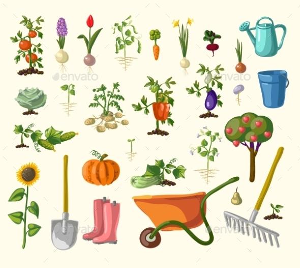 Vector Gardening Set - Flowers & Plants Nature
