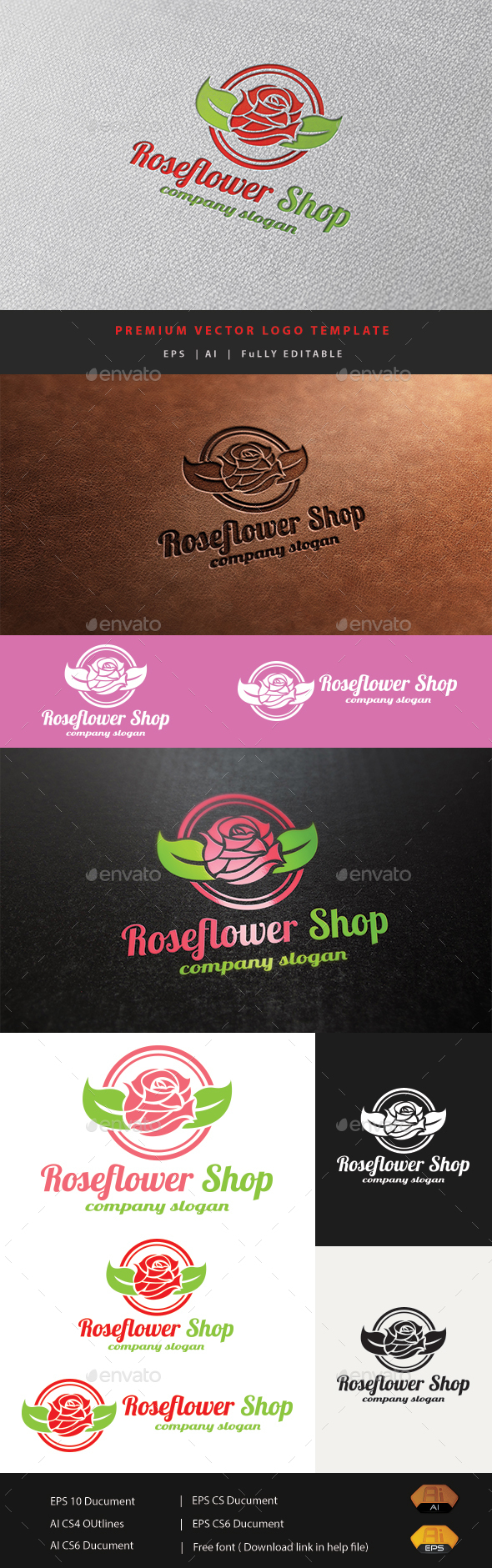 Rose Flower Shop - Nature Logo Templates
