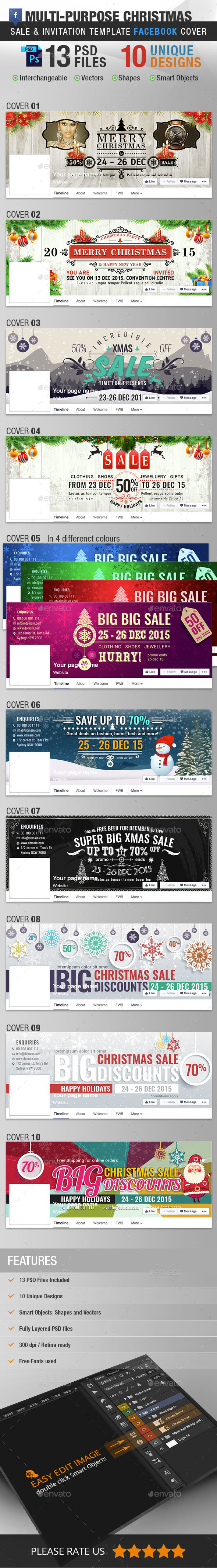 Multi-purpose Christmas Bundle Facebook Cover - Facebook Timeline Covers Social Media