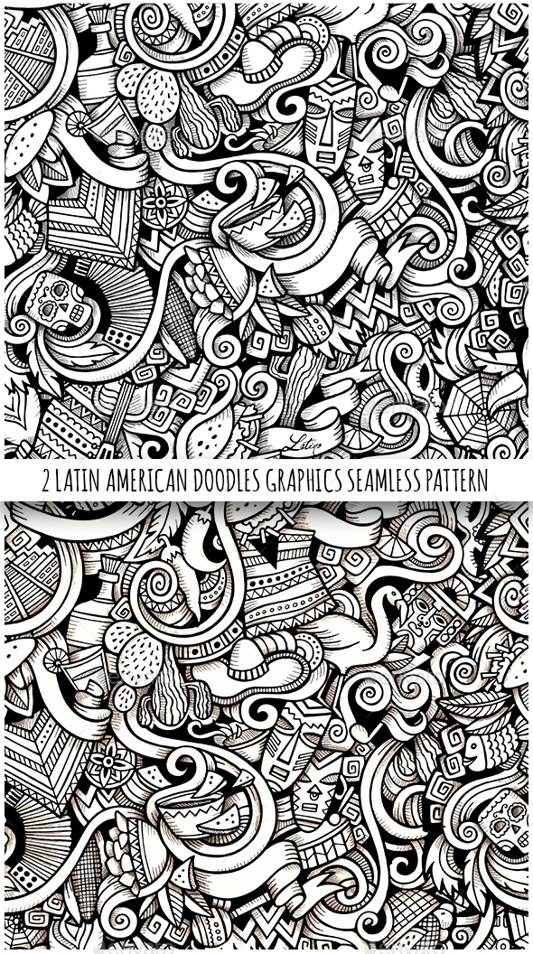 2 Latin America Doodles Graphics Seamless Patterns - Patterns Decorative