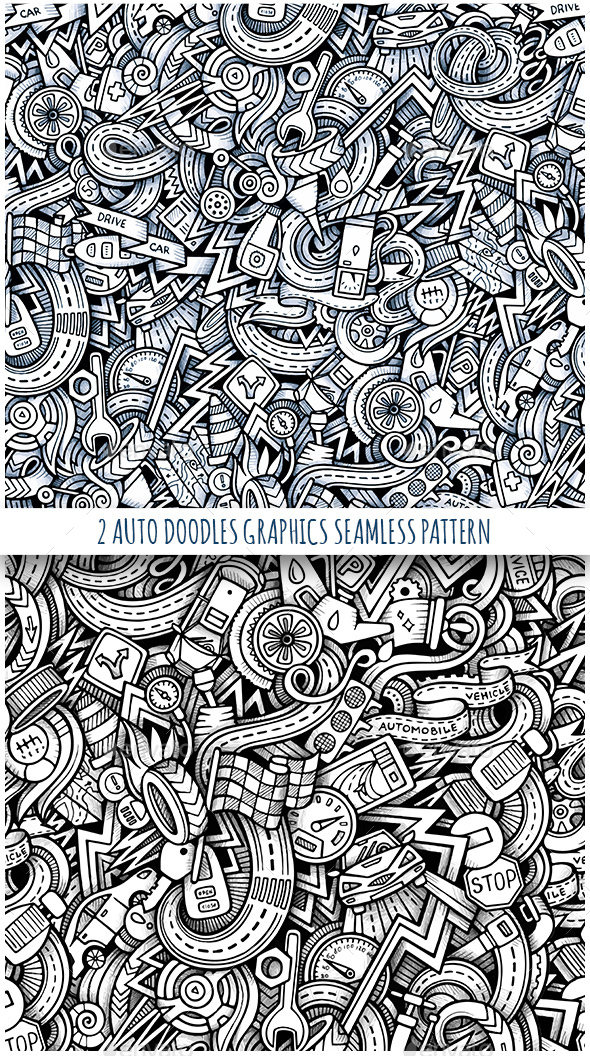 2 Vehicle Doodles Graphics Seamless Patterns - Technology Conceptual