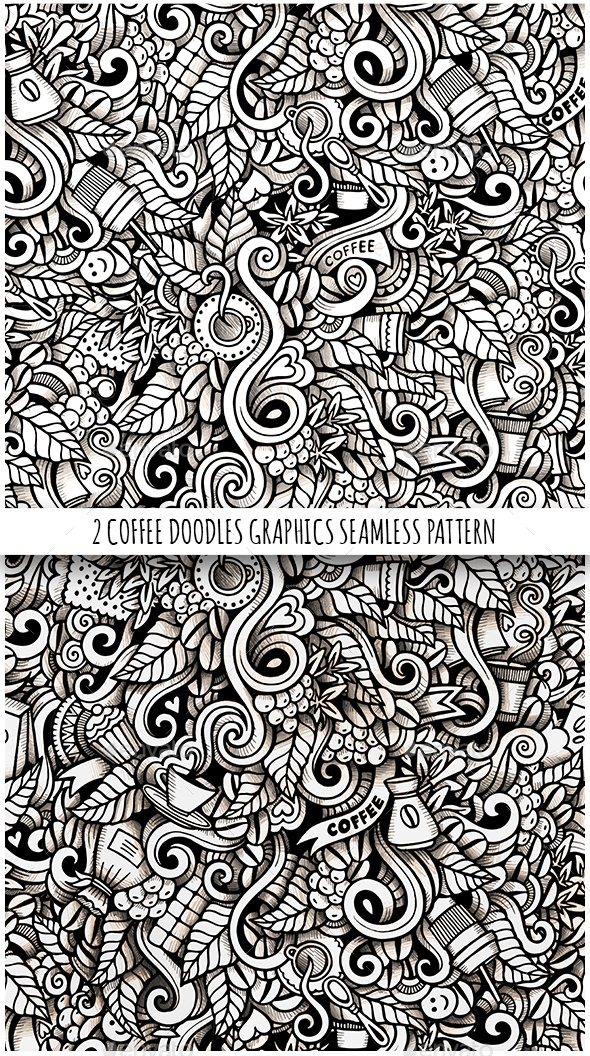 2 Coffee Doodles Graphics Seamless Patterns - Food Objects