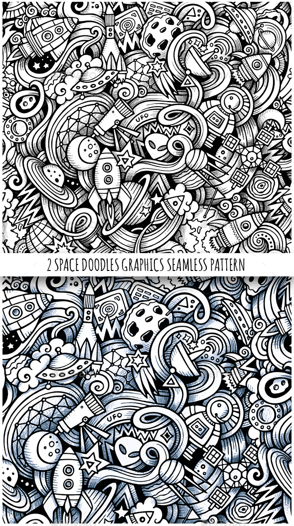 2 Space Doodles Graphics Seamless Patterns - Technology Conceptual