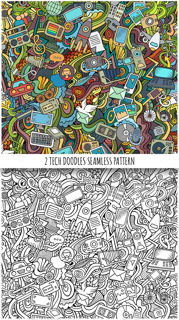 2 Technical Doodles Seamless Patterns - Technology Conceptual