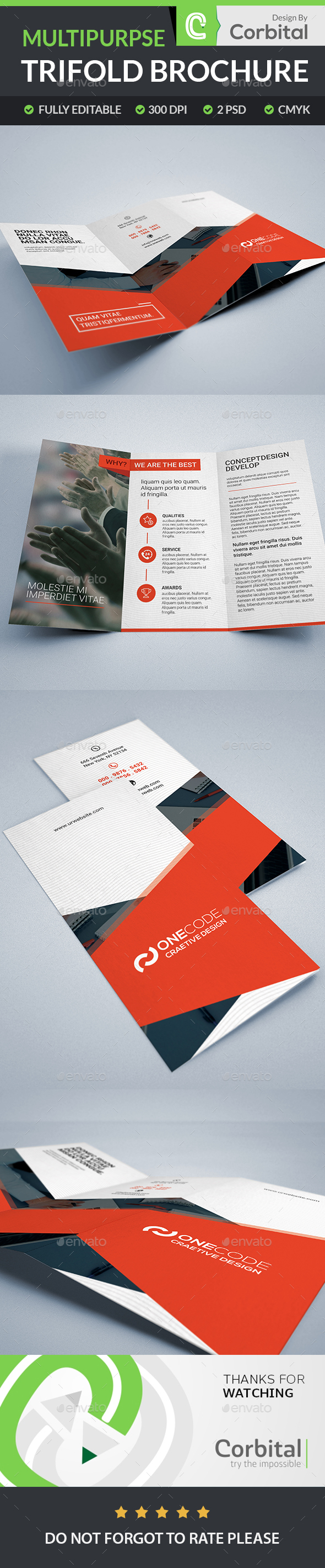 Multipurpse TriFold Brochure - Brochures Print Templates