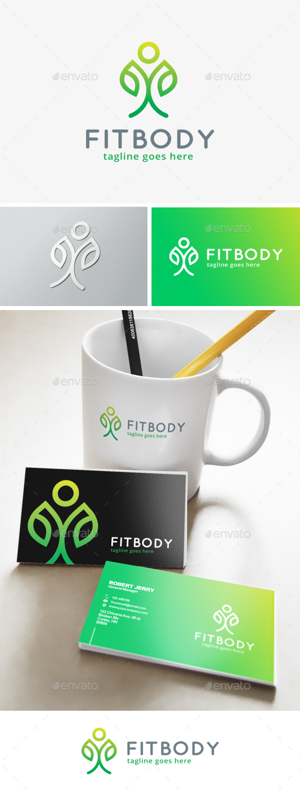 Nature Fit Body Logo - Humans Logo Templates