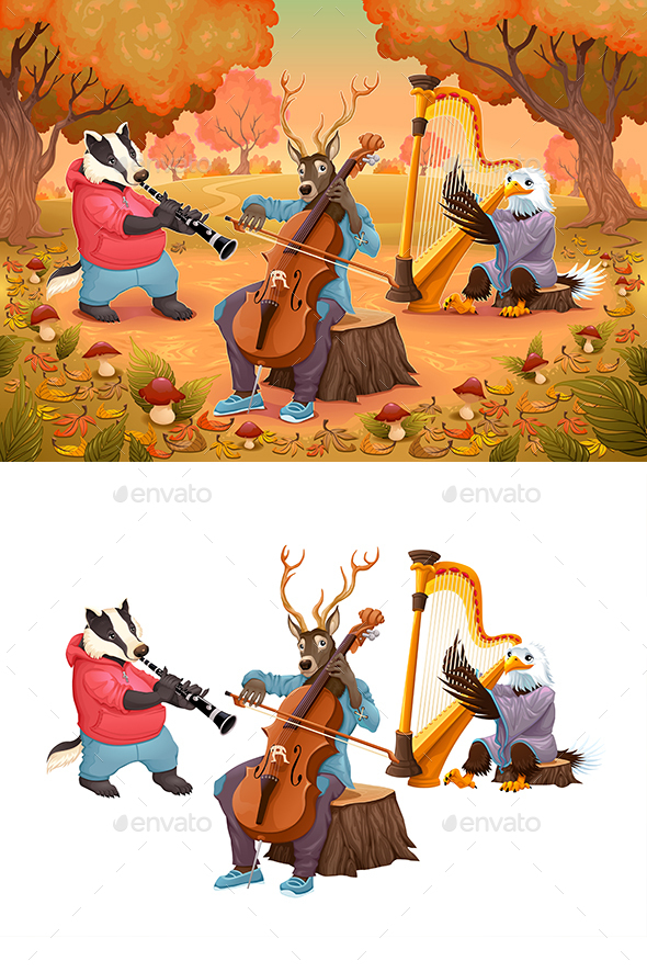 Musician Animals in the Wood - Animals Characters
