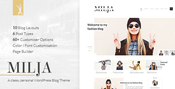 Milja - A Classy Personal WordPress Blog Theme