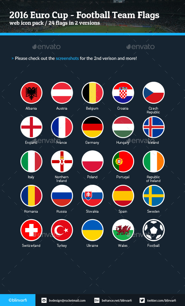 2016 Euro Cup - Football Soccer Team Flags - Icons