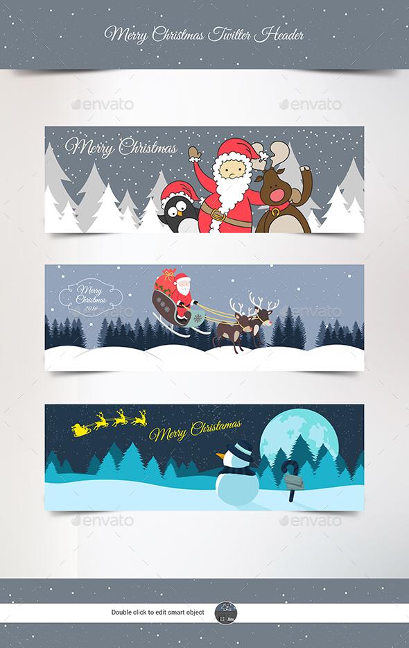 Christmas Twitter Header Template - Twitter Social Media