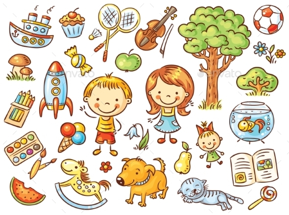 Colorful Doodle Set of Objects from a Child's Life - Miscellaneous Vectors