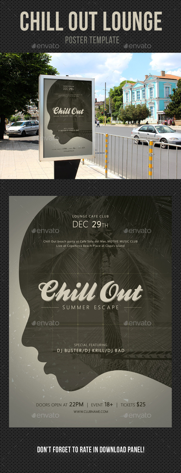 Chill Out Lounge Poster Template - Signage Print Templates