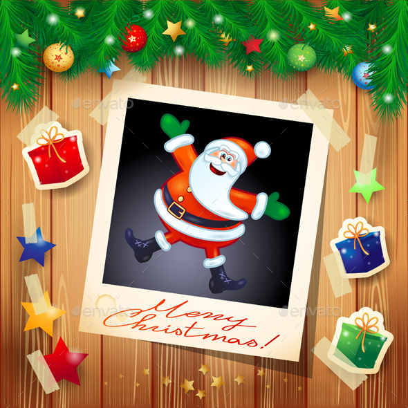 Christmas Background with Photo of Santa - Christmas Seasons/Holidays