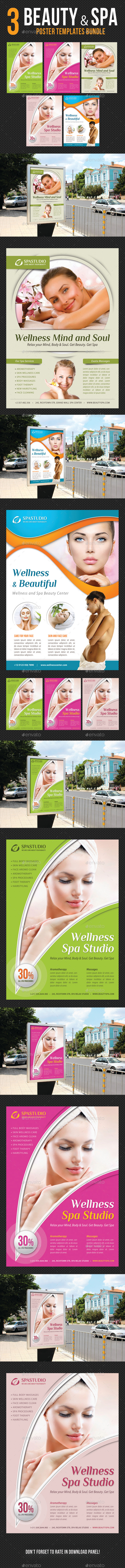 3 in 1 Beauty and Spa Poster Poster Bundle 02 - Signage Print Templates