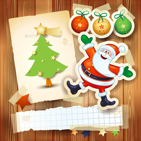Christmas Background with Happy Santa and Postcard - Christmas Seasons/Holidays