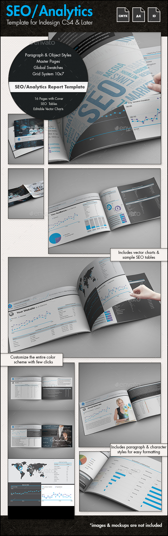 SEO / Analytics Report Template - A4 Landscape - Informational Brochures