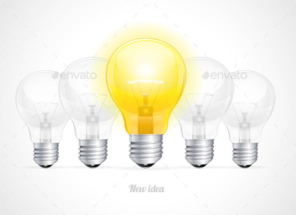 Bulb Icon with Idea Concept. Vector - Conceptual Vectors