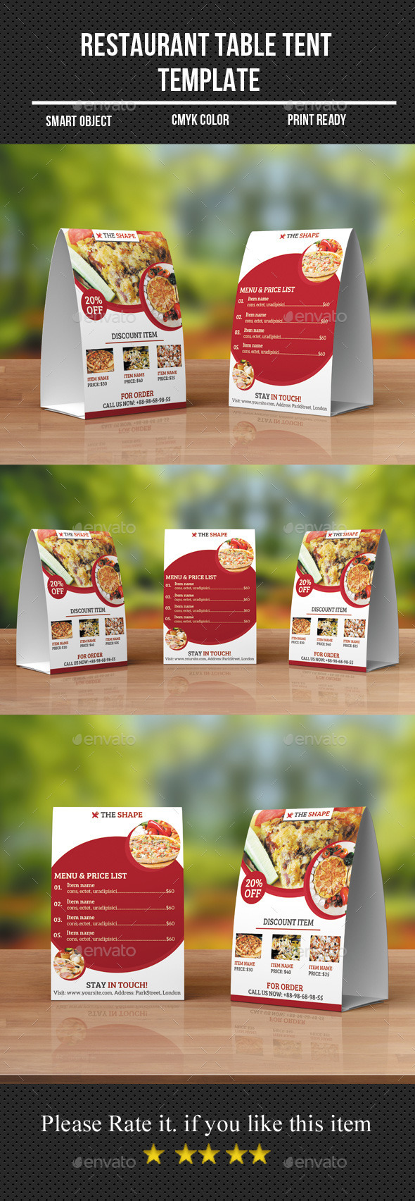 Restaurant Table Tent Template - Food Menus Print Templates